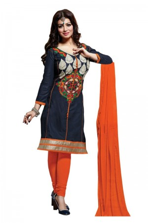 Buy Blue Colour Cotton Embroidery Semi-Stitched Straight Fit Suit  Online