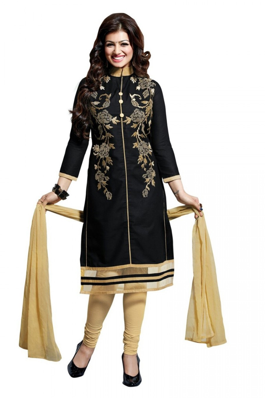 Buy Black Colour Cotton Embroidery Semi-Stitched Straight Fit Suit  Online