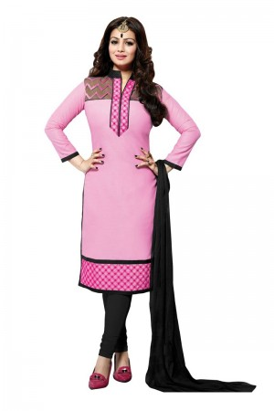 Buy Pink Colour Cotton Embroidery Semi-Stitched Straight Fit Suit  Online