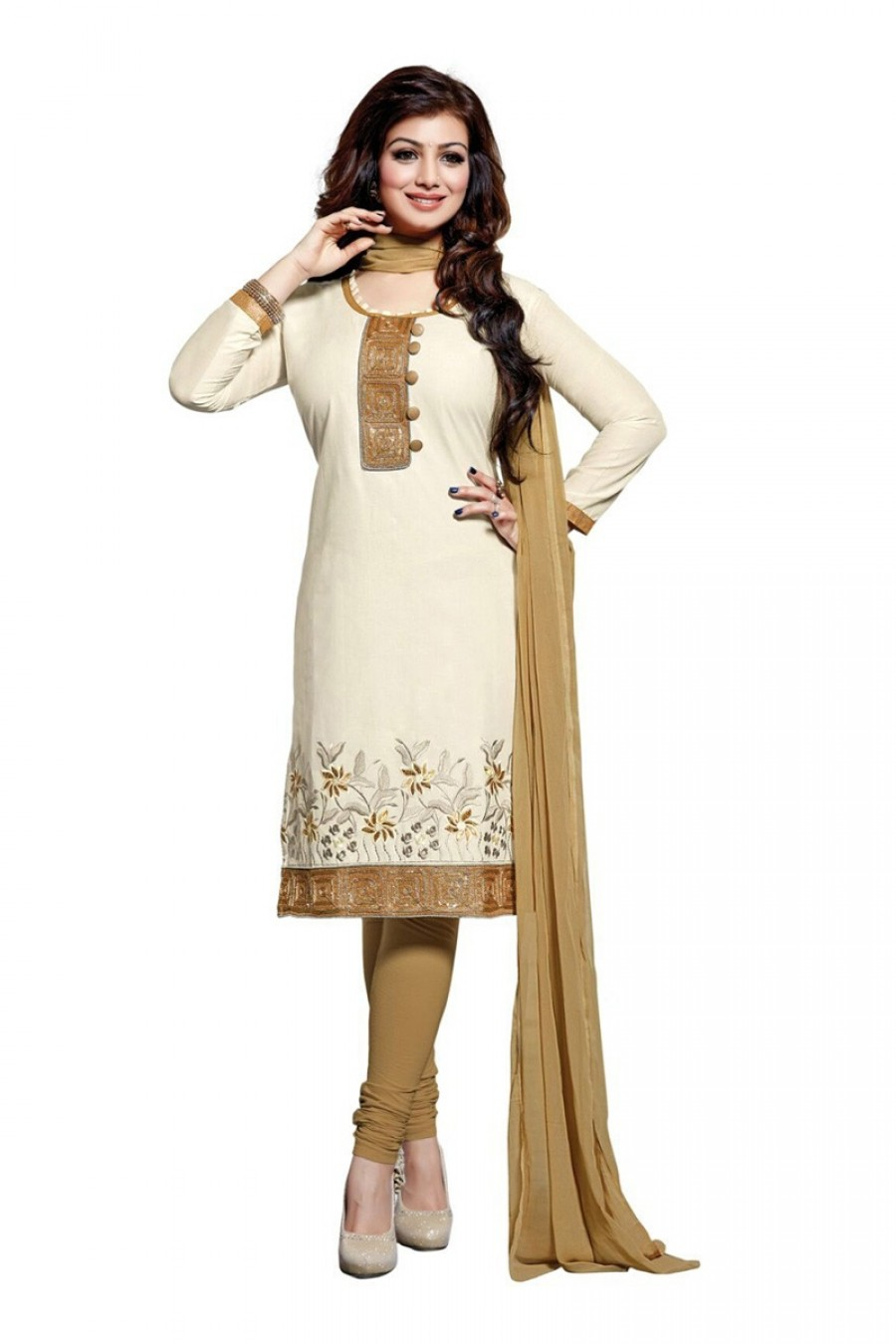 Buy White Colour Cotton Embroidery Semi-Stitched Straight Fit Suit  Online