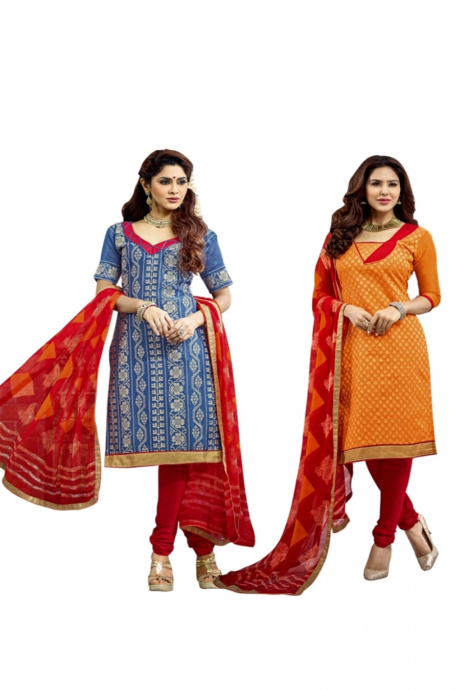 Buy Orange Colour Chanderi Two Top Designer Dress Material Online