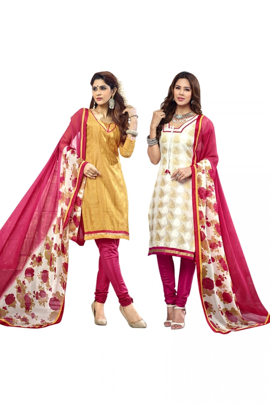 Buy Yellow Colour Chanderi Two Top Designer Dress Material Online