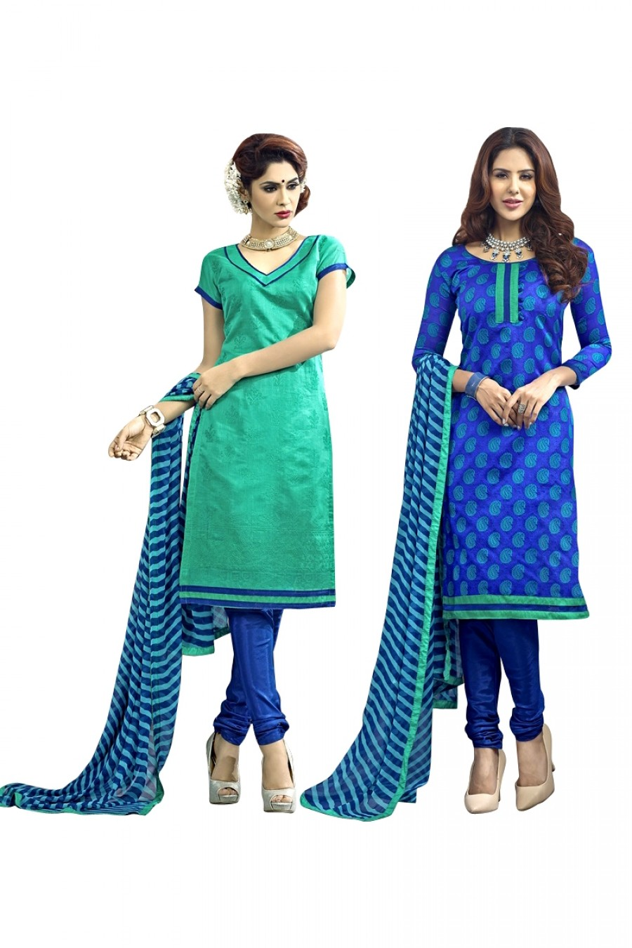 Buy Green Colour Chanderi Two Top Designer Dress Material Online