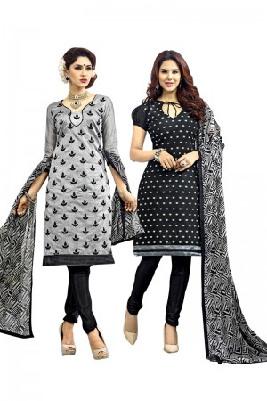Buy Grey Colour Chanderi Two Top Designer Dress Material Online