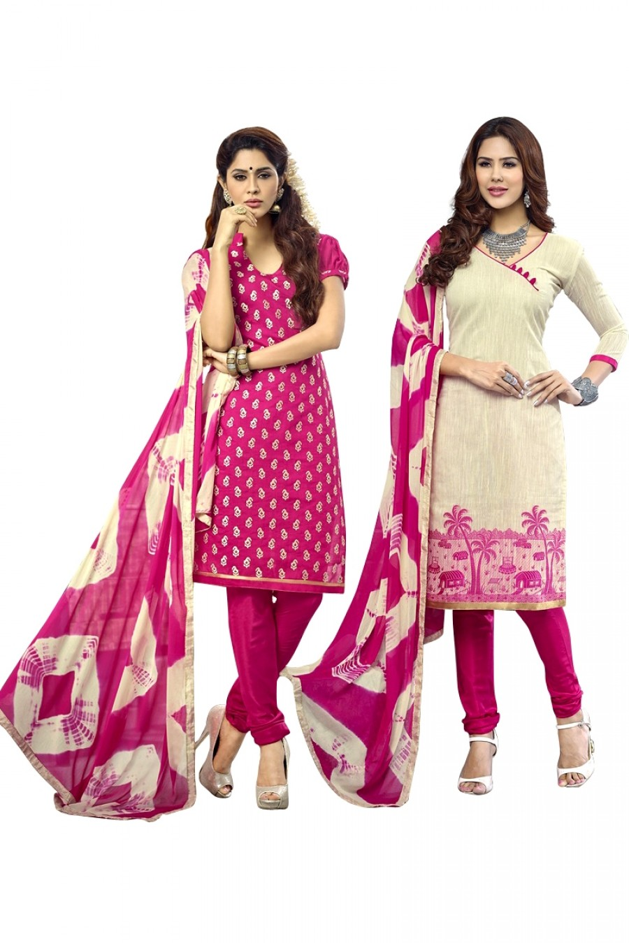 Buy Pink Colour Chanderi Two Top Designer Dress Material Online