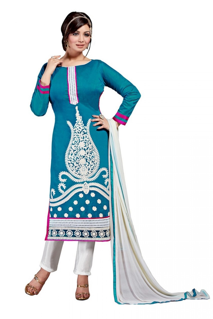 Buy Blue Colour Chanderi Embroidery Designer Dress Material   Online