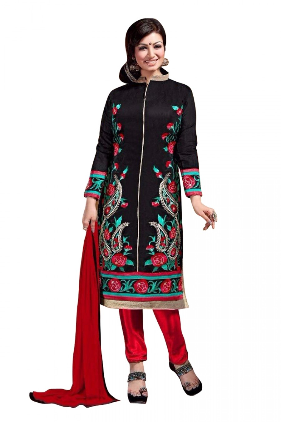 Buy Black Colour Chanderi Embroidery Designer Dress Material   Online
