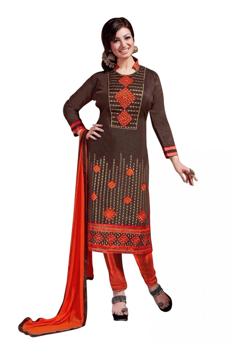 Buy Brown Colour Chanderi Embroidery Designer Dress Material   Online