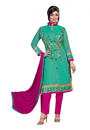 Buy Green Colour Chanderi Embroidery Designer Dress Material   Online