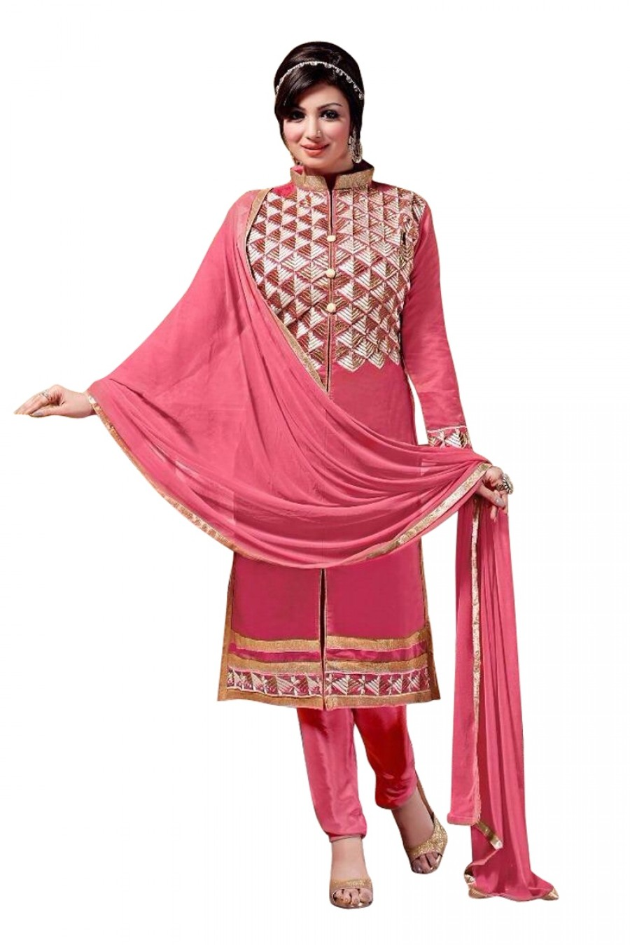 Buy Red Colour Chanderi Embroidery Designer Dress Material   Online