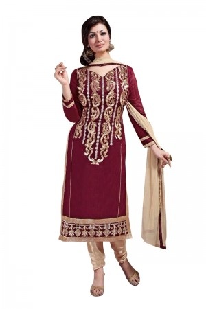 Buy Maroon Colour Chanderi Embroidery Designer Dress Material   Online
