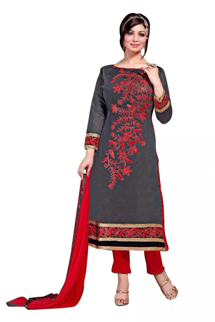 Buy Grey Colour Chanderi Embroidery Designer Dress Material   Online