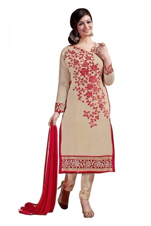 Buy Beige Colour Chanderi Embroidery Designer Dress Material   Online