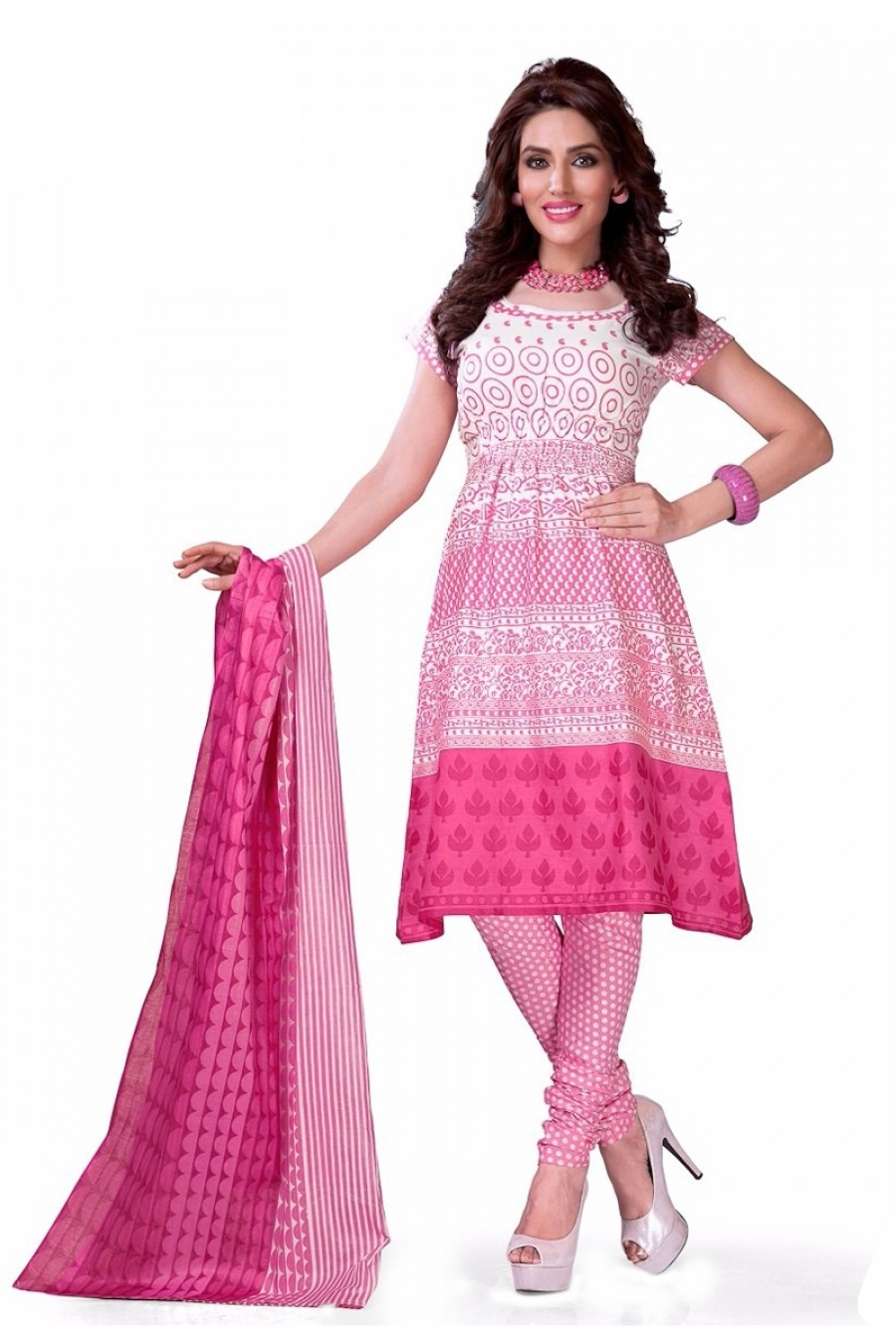 Buy Pink Colour Cotton Unstitched Dress Material  Online