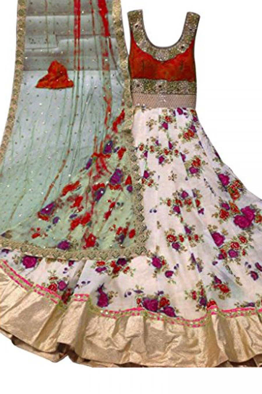 Buy Attractive White And Red Colour Net Embroidery Semi-Stitched Anarkali Suit Online