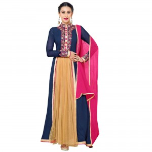 Buy Exclusive Blue Georgette Embroidery Semi-Stitched Flour Length Plazo Anarkali Suit Online