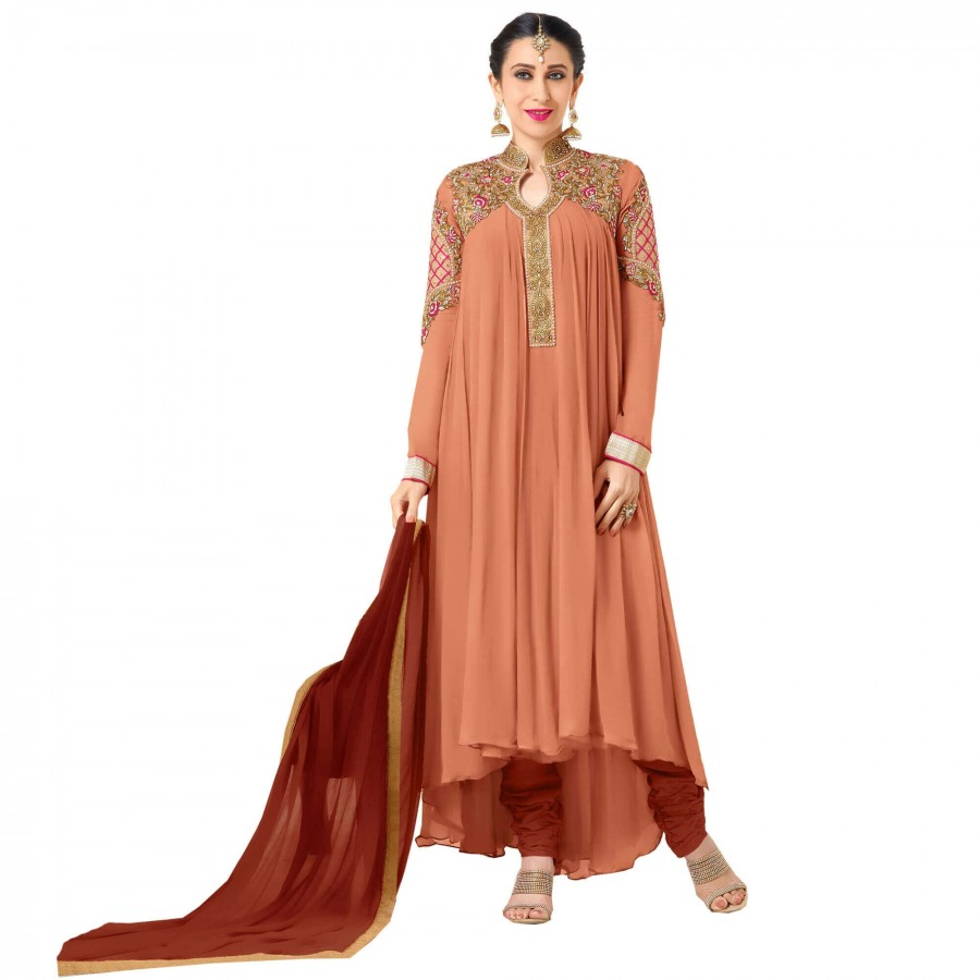 d50f232a15b Buy Exclusive Orange Georgette Embroidery Semi-Stitched Flered Anarkali Suit  Online