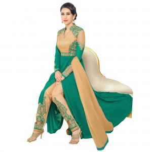 Buy Exclusive Beige And Green Georgette Embroidery Semi-Stitched Flour Length Anarkali Suit Online