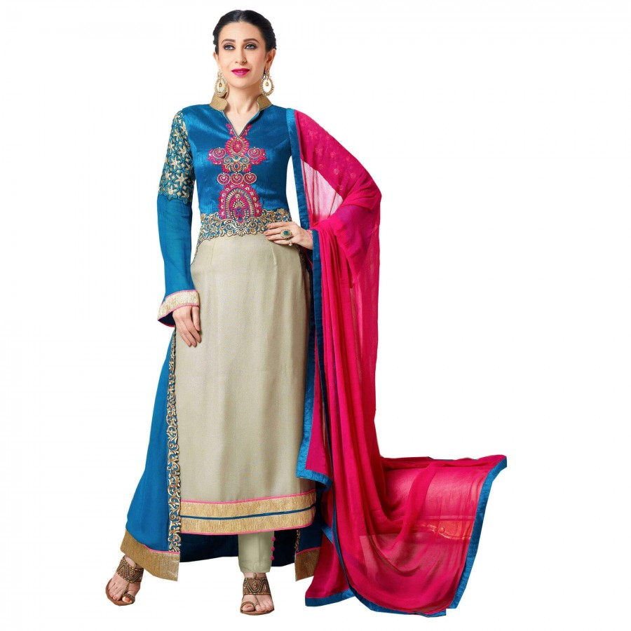 Buy Exclusive Blue Georgette Embroidery Semi-Stitched Flour Length Anarkali Suit Online