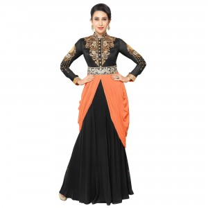 Buy Exclusive Black Georgette Embroidery Semi-Stitched Flour Length Anarkali Suit Online