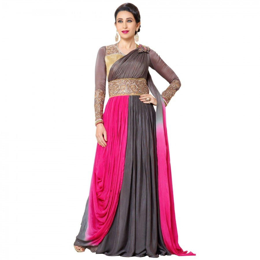 Buy Exclusive Pink And Brown Georgette Embroidery Semi-Stitched Flour Length Anarkali Suit Online