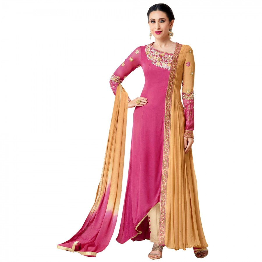 Buy Exclusive Pink And Yellow Georgette Embroidery Semi-Stitched Flour Length Anarkali Suit Online