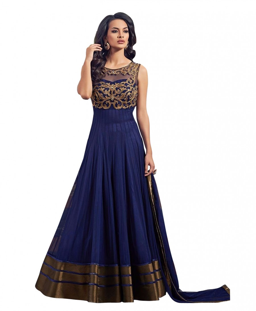 Buy Amazing Blue Net Neck Net Embroidery Semi-Stitched Anarkali Suit Online