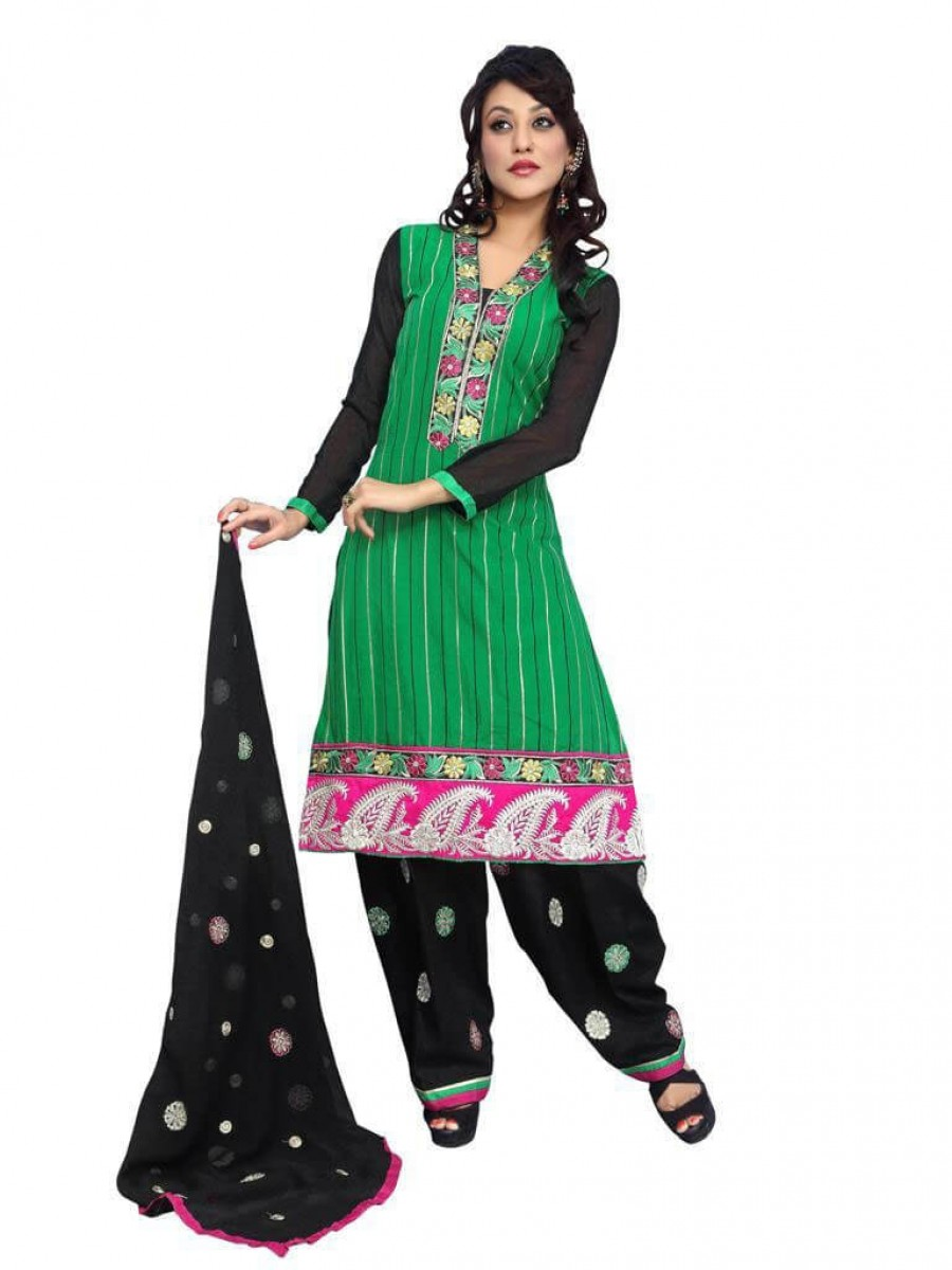 Buy Fancy Embriodered Patiala Cotton Dress Material Online