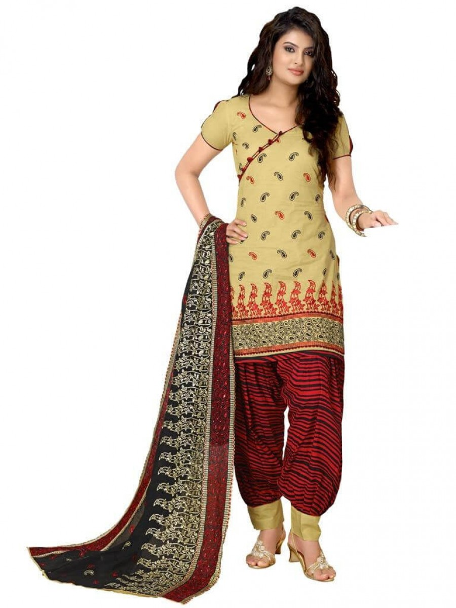 Buy Cotton Exclusive Cream & Maroon Combination Dress Material Online