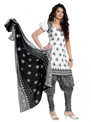 Buy Cotton Exclusive White & Black Combination Dress Material Online