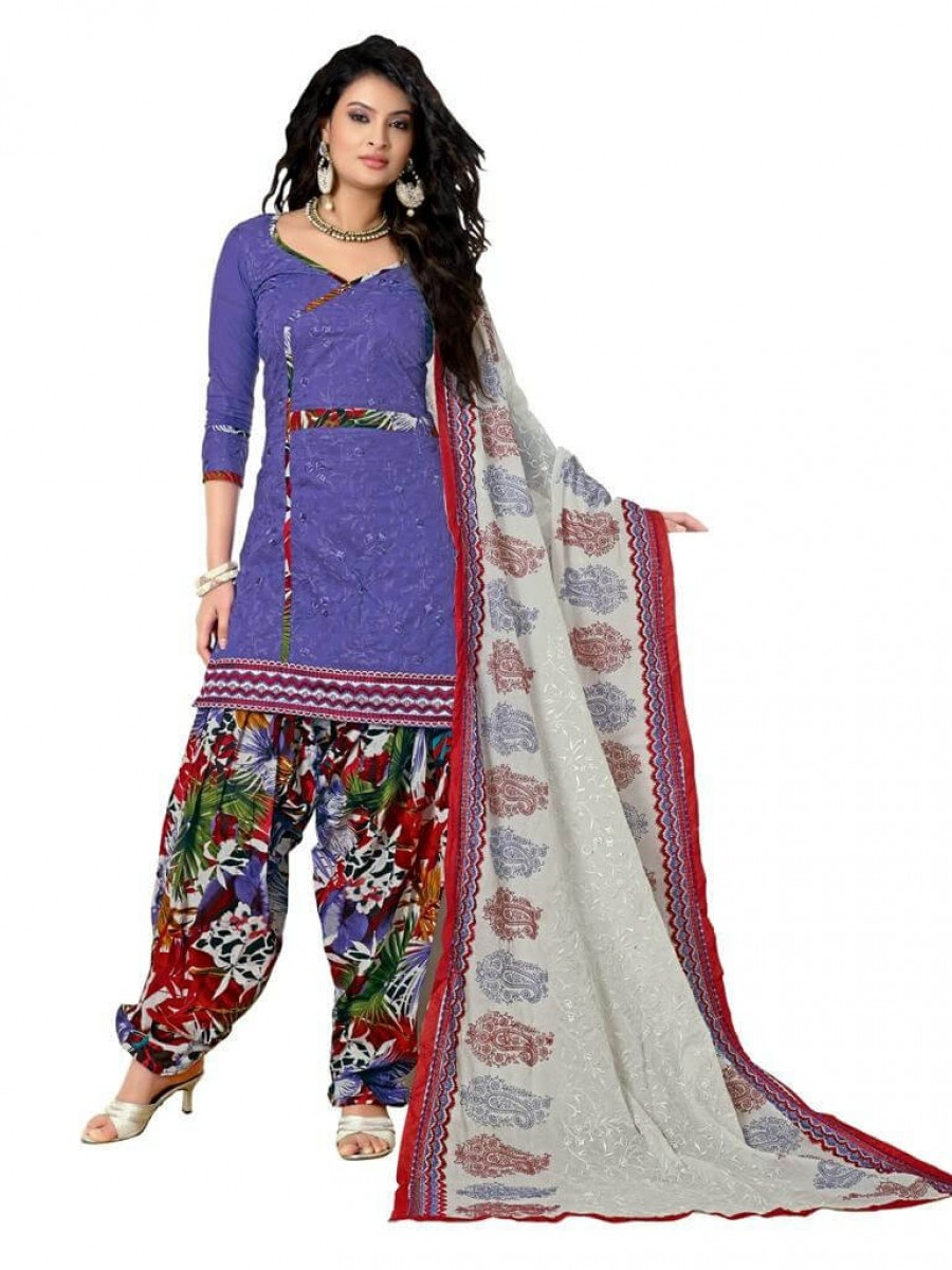 Buy Cotton Exclusive Purpal & Multi Combination Dress Material Online