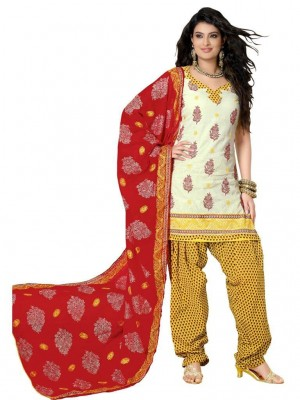 Buy Cotton Exclusive Cream & Yellow Combination Dress Material Online