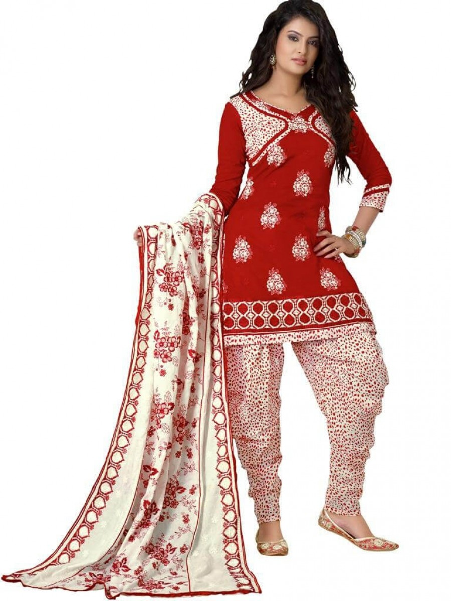 Buy Cotton Exclusive Red & Off White Combination Dress Material Online