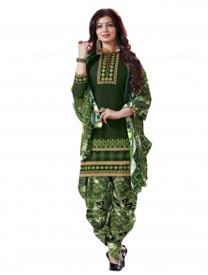 Buy Stylish Fancy Dark Green Designer Patiyala Suit Online
