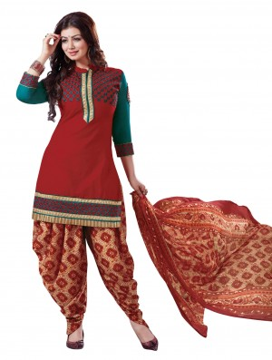Buy Stylish Beautiful Red Designer Patiyala Suit Online