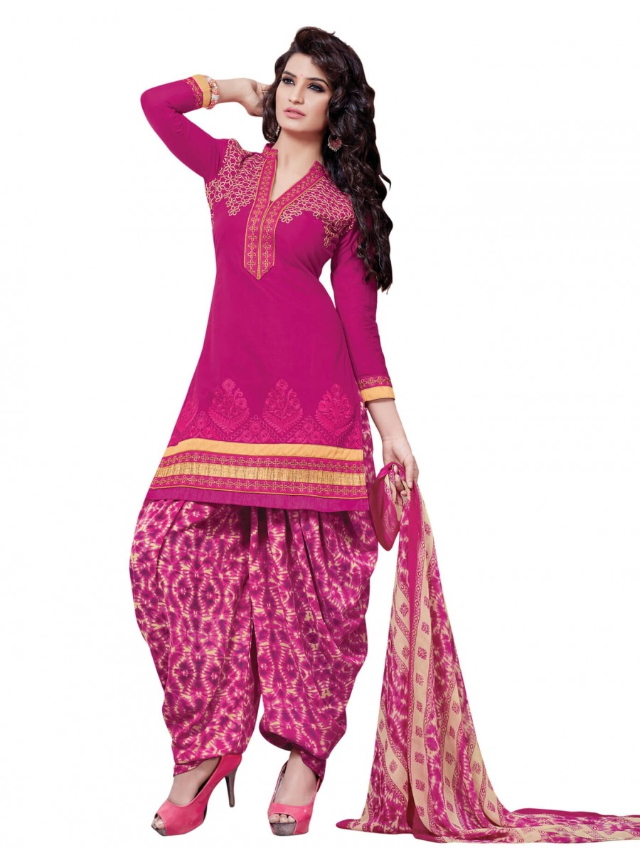 Buy Stylish Beautiful Pink Designer Patiyala Suit Online