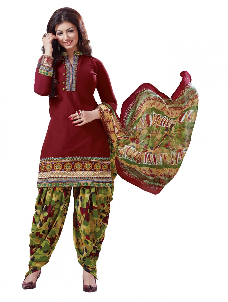 Buy Stylish Beautiful Maroon Designer Patiyala Suit Online
