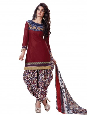 Buy Amazing Maroon Designer Patiyala Dress Material Online