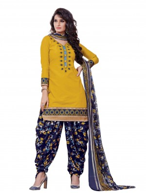 Buy Amazing Yellow Designer Patiyala Dress Material Online