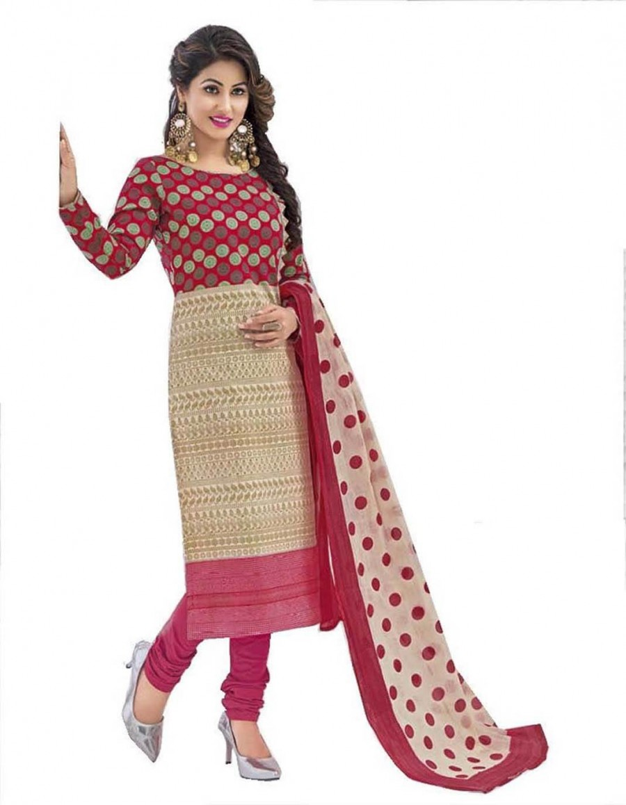 Buy Cotton Exclusive Beige And Maroon  Printed Dress Material Online