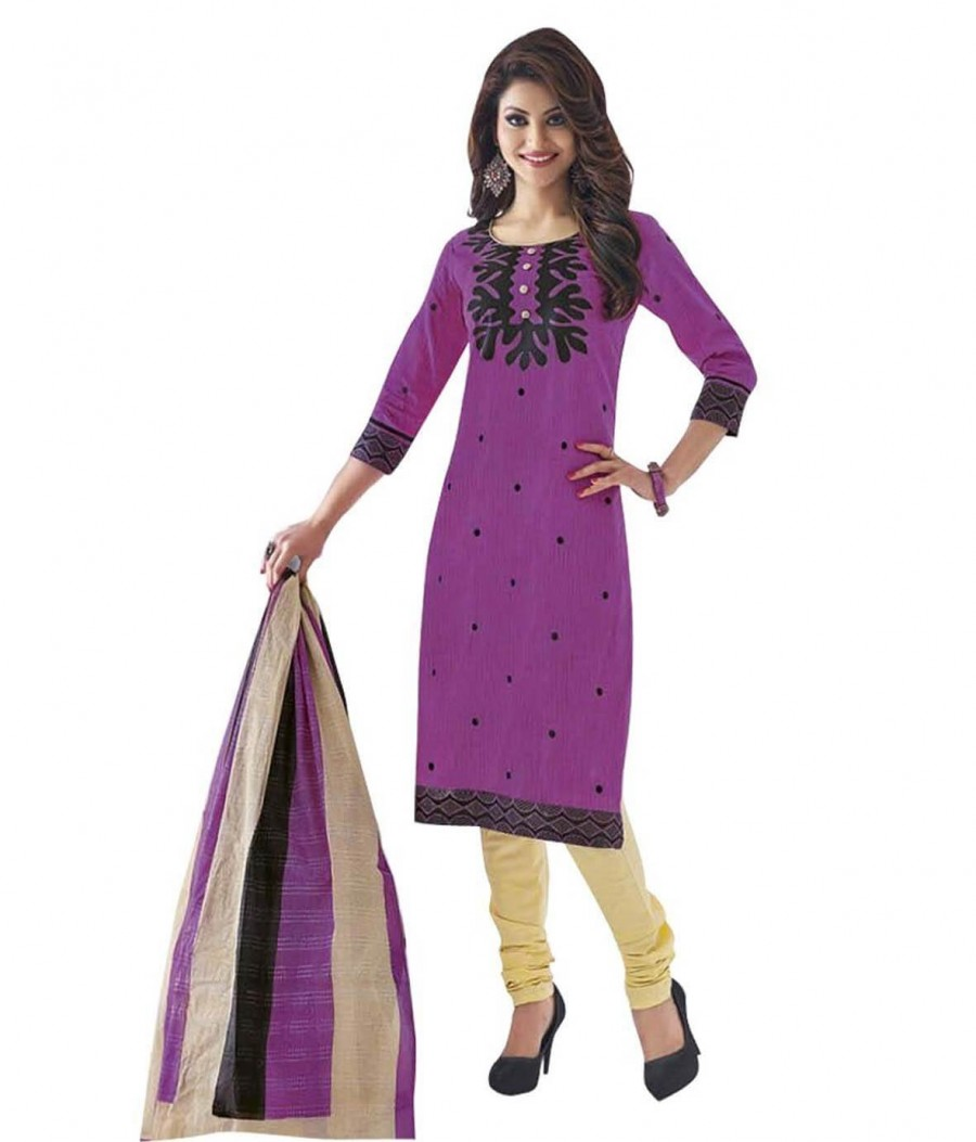 Buy Cotton Exclusive Purple And Cream Printed Dress Material Online