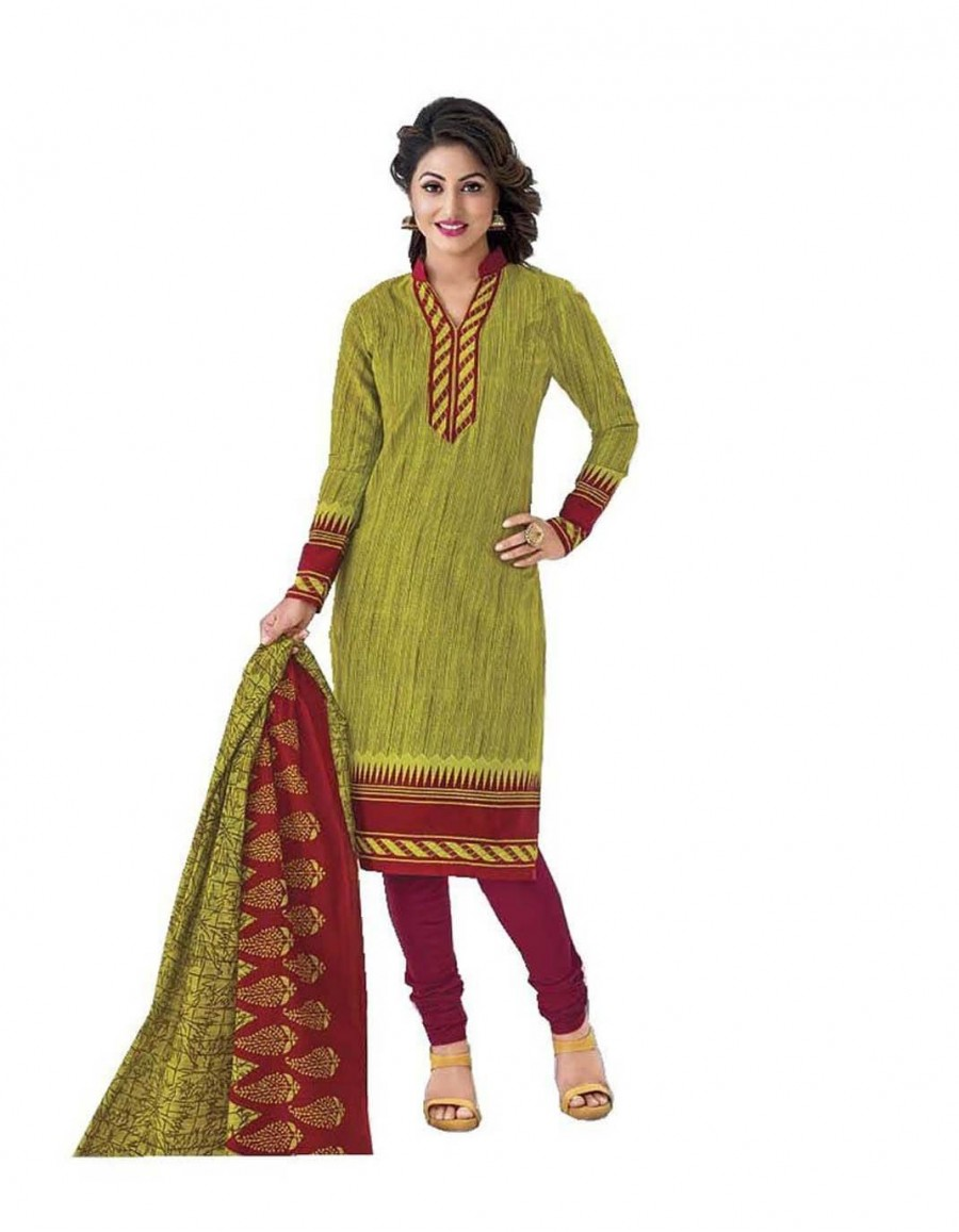 Buy Cotton Exclusive Light Green And Maroon Printed Dress Material Online