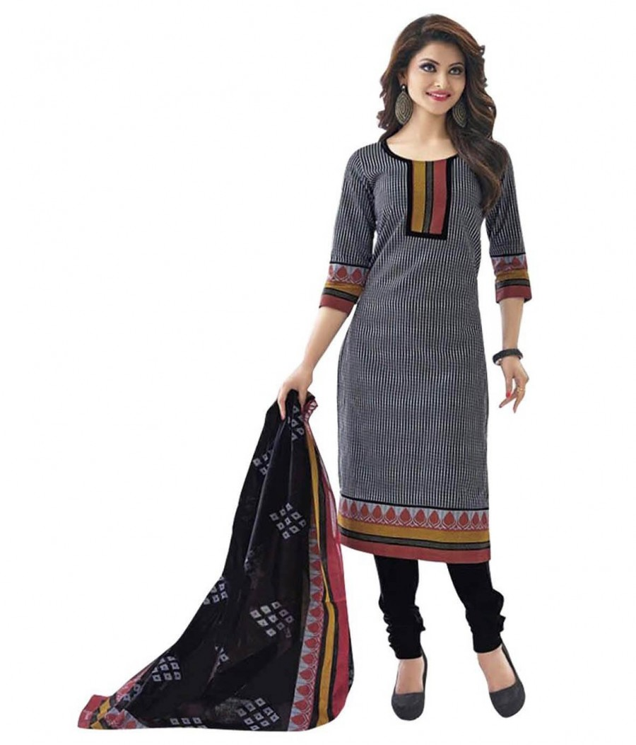 Buy Cotton Exclusive Black  Printed Dress Material Online