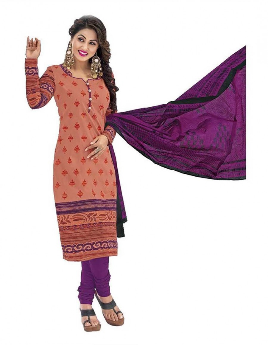 Buy Cotton Exclusive Orange And Purple Printed Dress Material Online