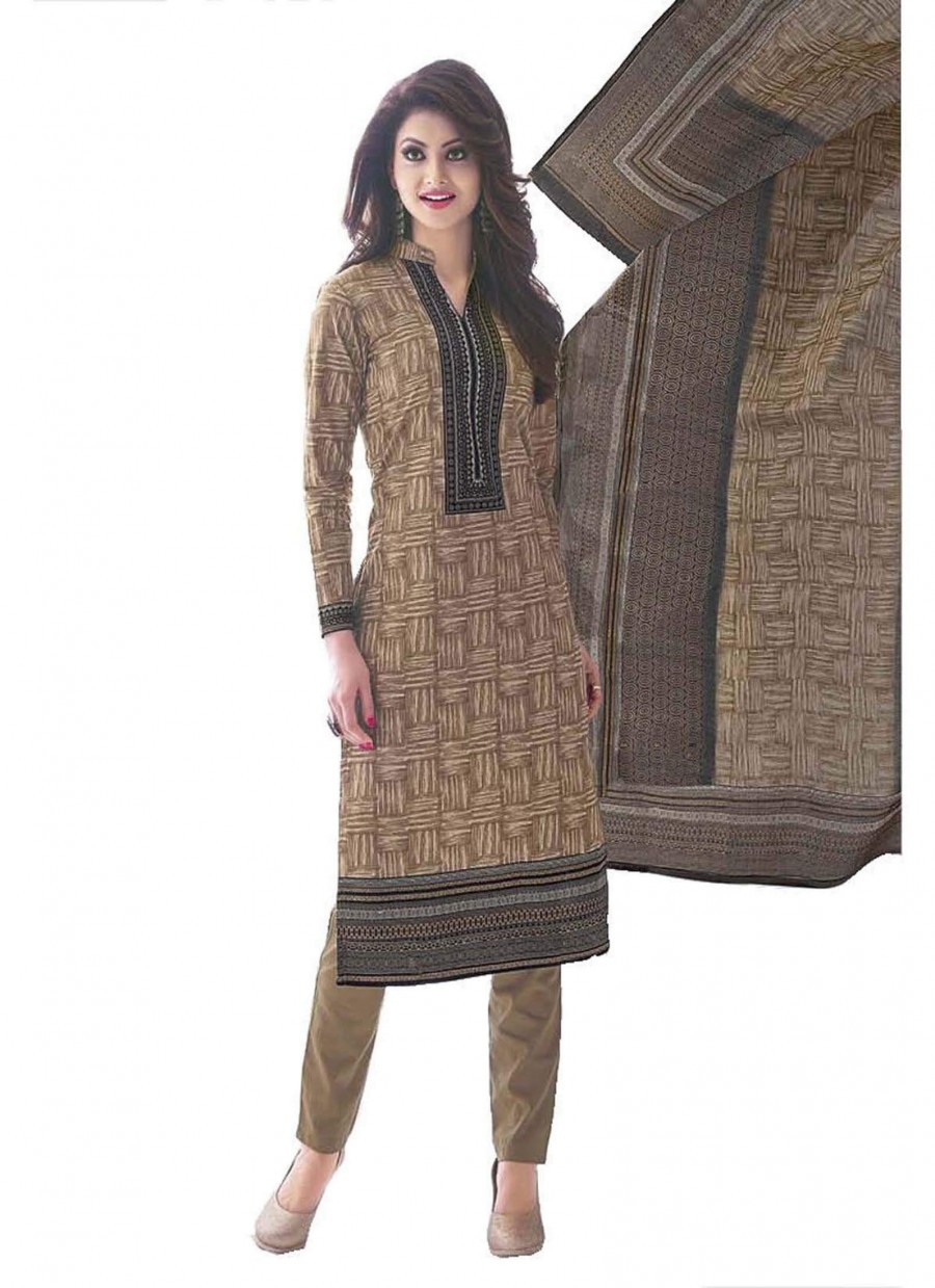 Buy Cotton Exclusive Beige Printed Dress Material Online