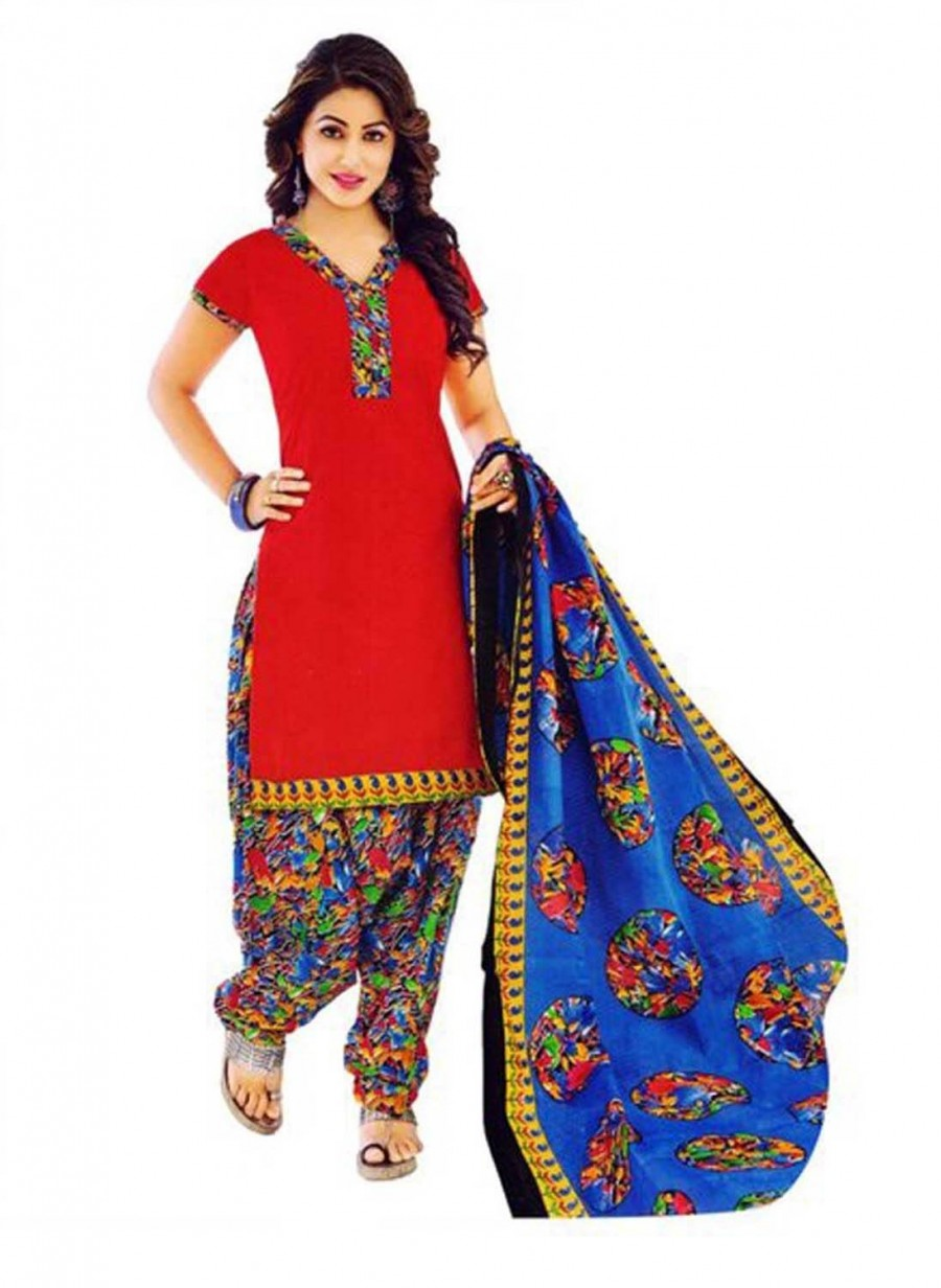 Buy Cotton Exclusive Red And Multi Color Printed Dress Material Online