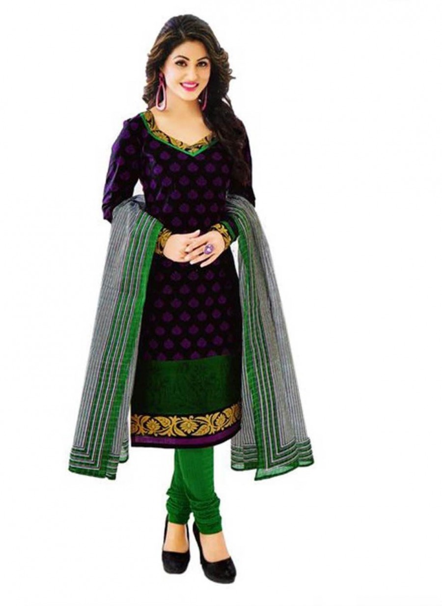 Buy Cotton Exclusive Black And Green Printed Dress Material Online