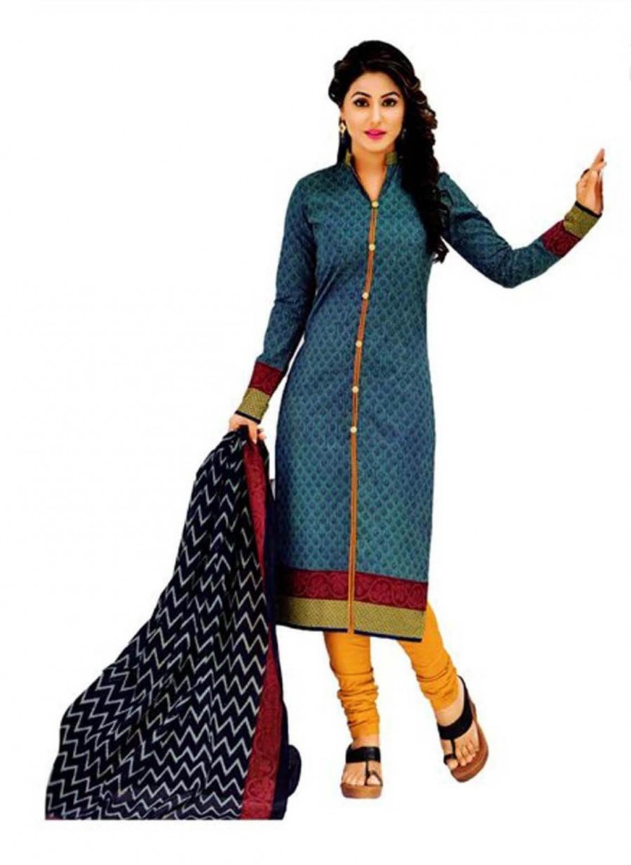Buy Cotton Exclusive Grey And Yellow Printed Dress Material Online