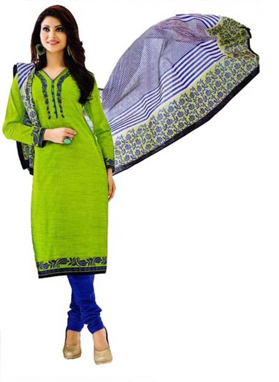 Buy Cotton Exclusive Light Green And Blue Printed Dress Material Online