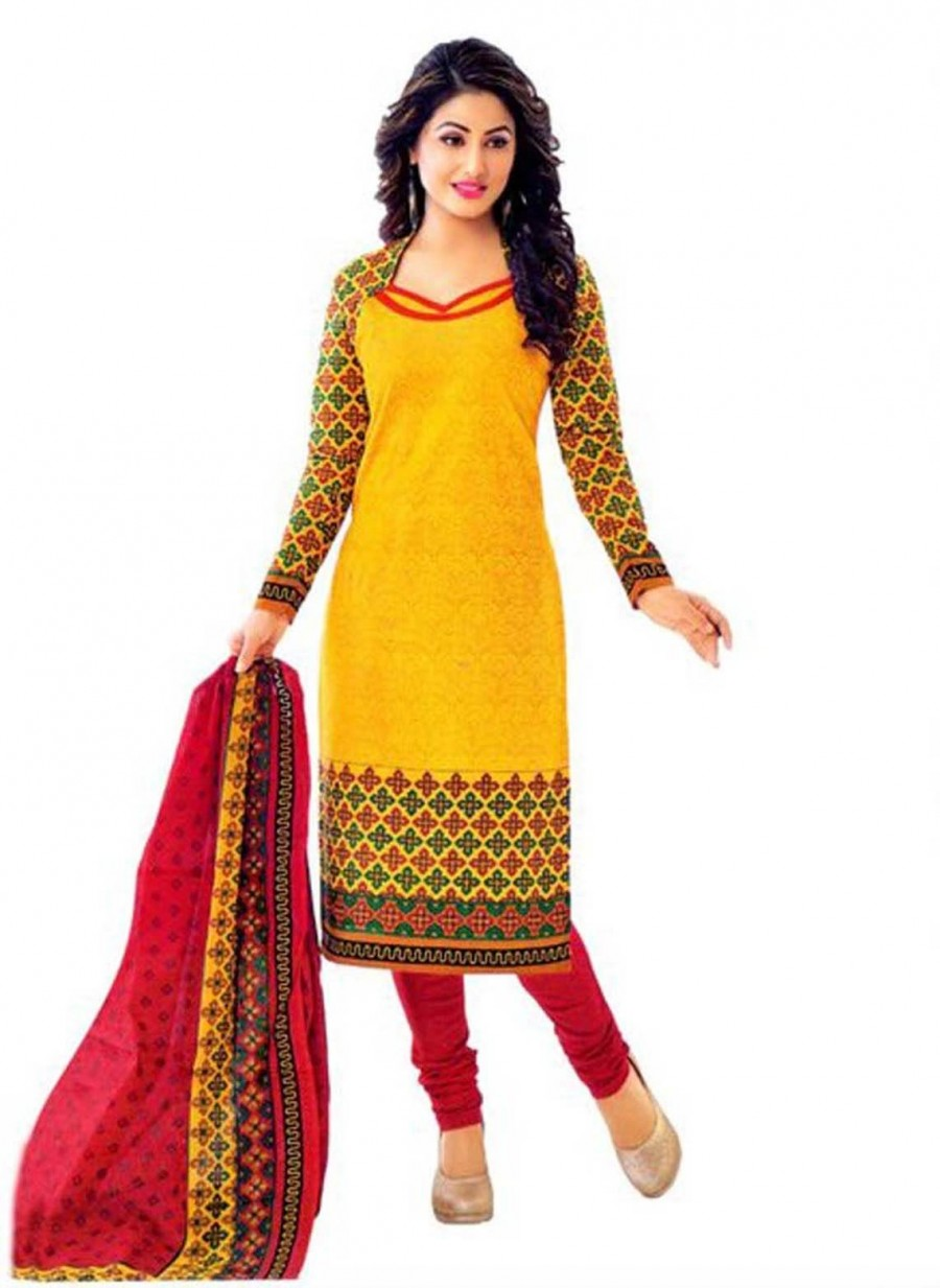 Buy Cotton Exclusive Yellow And Red Printed Dress Material Online